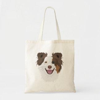 Bolsa Tote Cara feliz border collie dos cães da ilustração