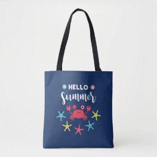 Bolsa Tote Caranguejo feliz do verão dos azuis marinhos olá!