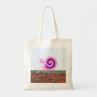 Bolsa Tote Caráter cor-de-rosa & roxo feliz do caracol em uma
