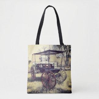 Bolsa Tote Carrinho antiquado do vintage na frente da casa da