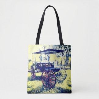 Bolsa Tote Carrinho brilhante do vintage na frente da casa da