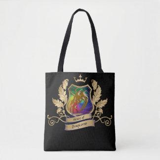 Bolsa Tote Casa das folhas do arco-íris do ouro da crista de
