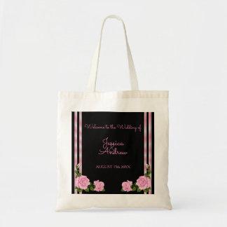 Bolsa Tote Casamento cor-de-rosa do buquê do canto chique