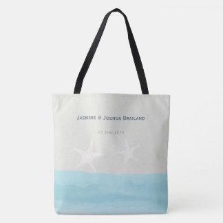 Bolsa Tote Casamento de praia azul da estrela do mar da