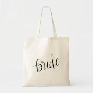 Bolsa Tote Casamento elegante simples da tipografia da noiva