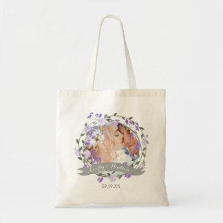 Bolsa Tote Casamento floral da grinalda da peônia roxa