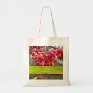 Bolsa Tote Casamento personalizado do eixo flores cor-de-rosa