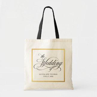 Bolsa Tote Casamento personalizado do roteiro Flourishes