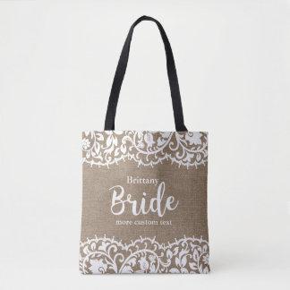 Bolsa Tote Casamento rústico de serapilheira do laço da noiva