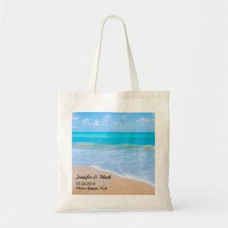 Bolsa Tote Casamento tropical da cena da praia surpreendente