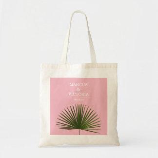 Bolsa Tote Casamento tropical do rosa da folha da fronda da