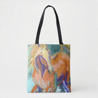 Bolsa Tote Castanha Frisky e sacola Flaxen da arte do cavalo