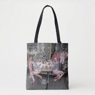Bolsa Tote Cavalo cor-de-rosa do carrossel