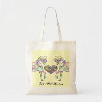 Bolsa Tote Cavalo das crianças e coração do amor