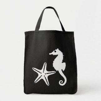 Bolsa Tote Cavalo marinho & estrela do mar, preto e branco