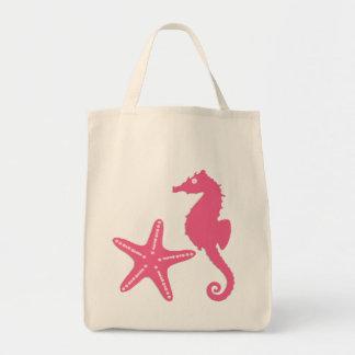 Bolsa Tote Cavalo marinho & estrela do mar, rosa do fúcsia