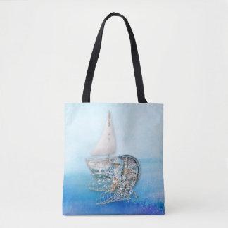 Bolsa Tote Cavalo marinho & peixes náuticos - mar - por todo