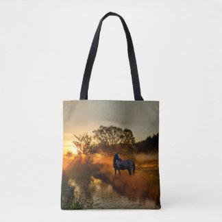 Bolsa Tote Cavalo preto no nascer do sol ou no por do sol