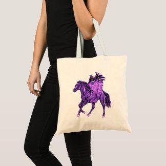 Bolsa Tote Cavalo voado Pegasus roxo do tema da fantasia