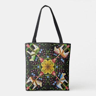 Bolsa Tote Cavalos da arte popular com design das flores
