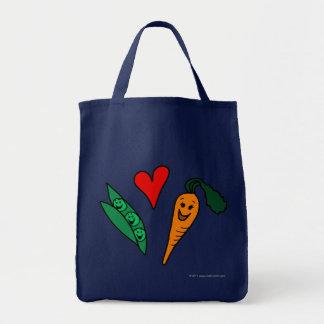 Bolsa Tote Cenouras do amor das ervilhas, saco de compras na