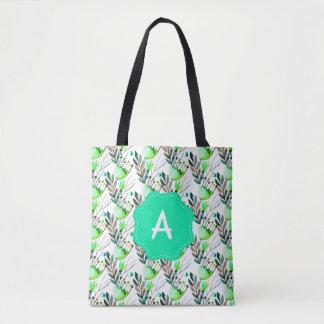 Bolsa Tote Cerceta do monograma e flores verdes da aguarela