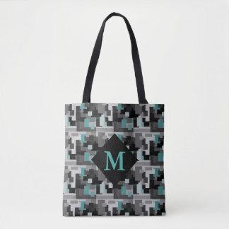 Bolsa Tote Cerceta, preto e monograma cinzento da camuflagem