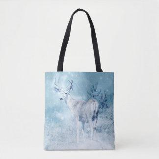 Bolsa Tote Cervos e pinheiros do inverno