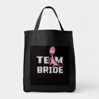 Bolsa Tote Chá de panela do dinossauro do rosa da noiva da