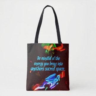 Bolsa Tote Chamas azuis coloridas de citações sagrados dos