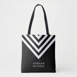 Bolsa Tote Chevron preto & branco minimalista moderno