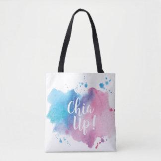 "Bolsa Tote ""Chia acima"" projeta o saco"
