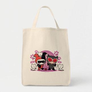 Bolsa Tote Chibi Harley Quinn & mulher-gato de Chibi com