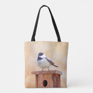 Bolsa Tote Chickadee na pintura do Birdhouse - pássaro