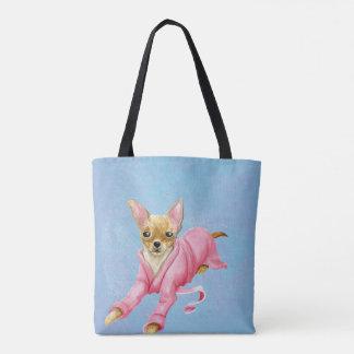 Bolsa Tote Chihuahua em uma sacola do cão do Bathrobe