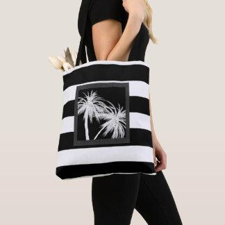 Bolsa Tote Chique moderno das palmeiras tropicais pretas &