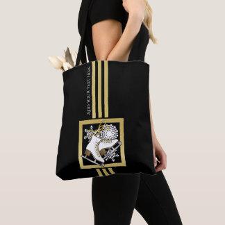 Bolsa Tote Chique moderno do ouro do falso do preto do