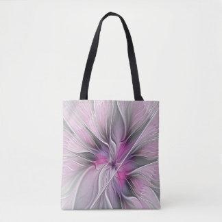 Bolsa Tote Cinzas abstratas modernas do rosa da flor do