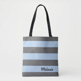 Bolsa Tote Cinzento e claro - listras azuis