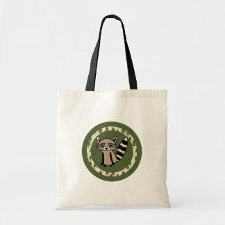 Bolsa Tote Círculo bonito do OM do guaxinim do verde
