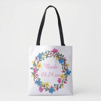 Bolsa Tote Círculo colorido de sacolas da noiva das flores