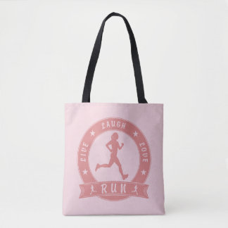 Bolsa Tote Círculo fêmea FUNCIONADO do riso amor vivo (rosa)
