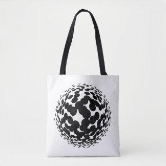 Bolsa Tote Círculos de intervalo mínimo pretos no fundo