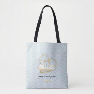 Bolsa Tote Cisnes douradas do coração, amor delicado