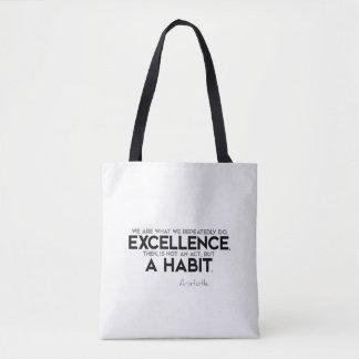 Bolsa Tote CITAÇÕES: Aristotle: A excelência é um hábito