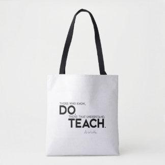 Bolsa Tote CITAÇÕES: Aristotle: Saiba, fazem, para ensinar