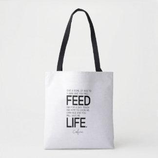 Bolsa Tote CITAÇÕES: Confucius: A bacia de arroz, cresce o