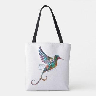 Bolsa Tote Citações de Rumi com sacola do colibri