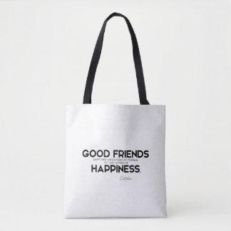 Bolsa Tote CITAÇÕES: Euripides: Bons amigos, felicidade