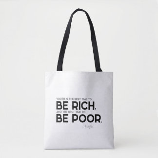Bolsa Tote CITAÇÕES: Euripides: Seja rico, seja pobre